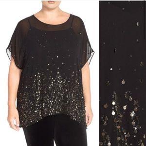 Eileen Fisher Sheer Embellished Top